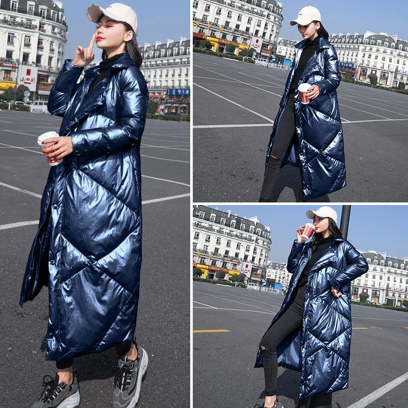 Chaud Parkas Femmes Lumineux Down Hiver Tempérament Vestes Bas light Blue Navy Manteaux Pardessus Blue Visage 2018 Vers Le Long Manteau Gray silver Dames Femme Blanc Slim PaqZxn8