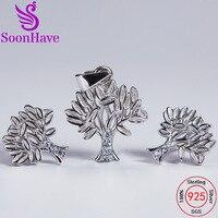 SoonHave Gümüş 925 Ağaç Hayat Takı Setleri Kolye Küpe Lady Karısı Kız Arkadaş Kadınlar Düğün Sevgililer Hediye charms