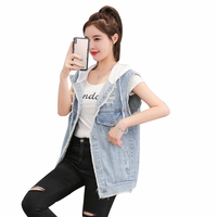 Rlyaeiz Spring Short Denim Women's Vest 2019 Summer Fashion Hole Water Washing Denim Vest Loose Hooded Sleeveless Jeans Jackets