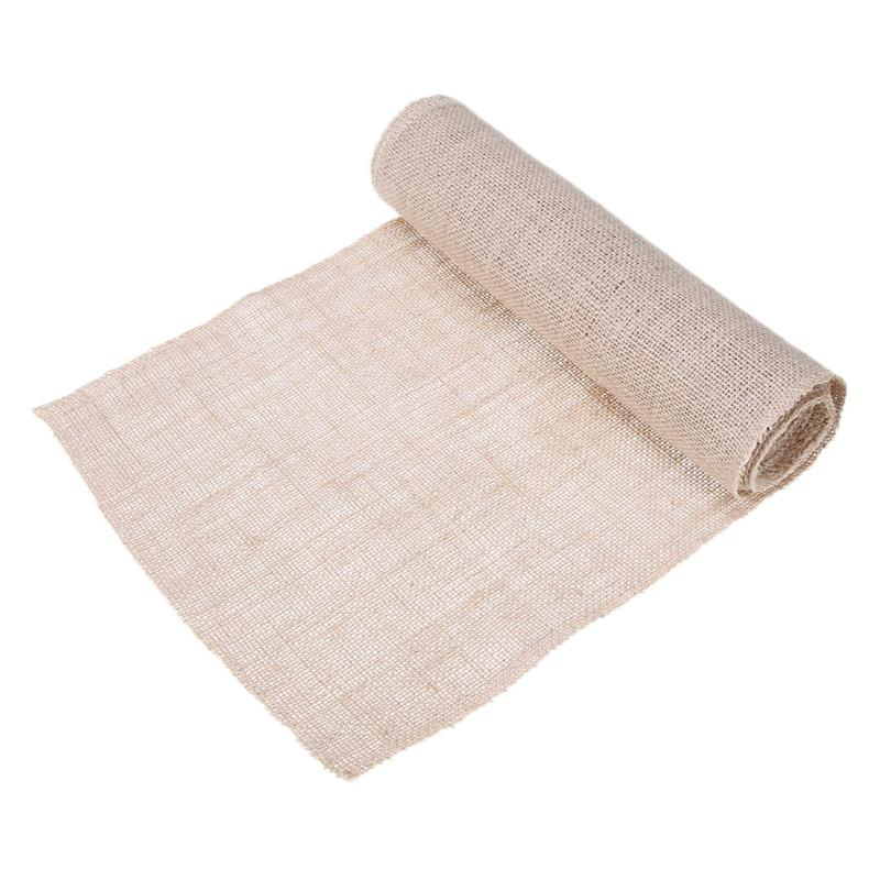 Natural Burlap Jute Linen Table Runner Lace Cloth Vintage Home Christmas Party Wedding Decoration Tableware Placemat