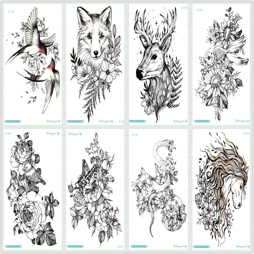 Rocooart Black Sketch Tattoo Sticker Horse Taty Wolf Bird Snake Fake Tattoo Body Art Temporary Tattoo Stickers Flowers Tatuagem