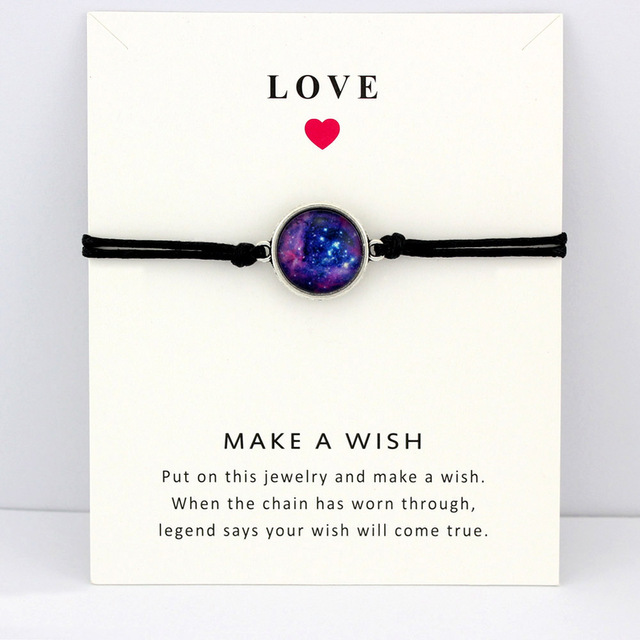Space Galaxy Universe Starry Nebula Card Bracelets Gem Star Moon 18mm Glass Cabochon Charm Jewelry Women Men Gift Drop Shipping