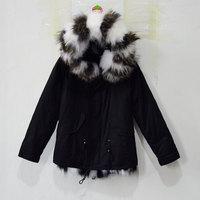 New Arrival Male Black Parka Short Style Black & White Grid Joint Design Jacket
