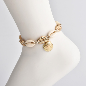 Vintage Antique Gold Color Anklet Women shell sequins Beads 1