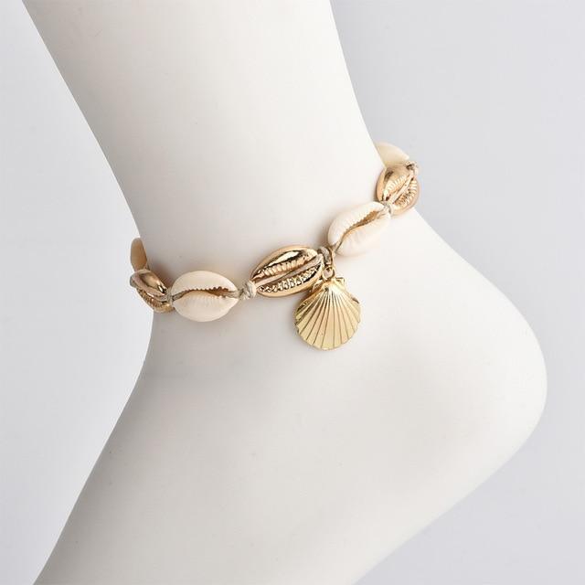 Vintage Antique Gold Color Anklet Women shell sequins Beads 1