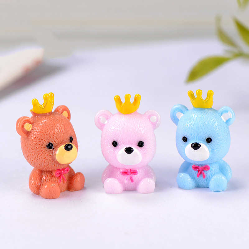 ZOCDOU 1 Stück Crown Meer Bär Russland Bruin Panda Kleine Weide Statue Figurine Micro Handwerk Ornament Miniaturen DIY Home Garten