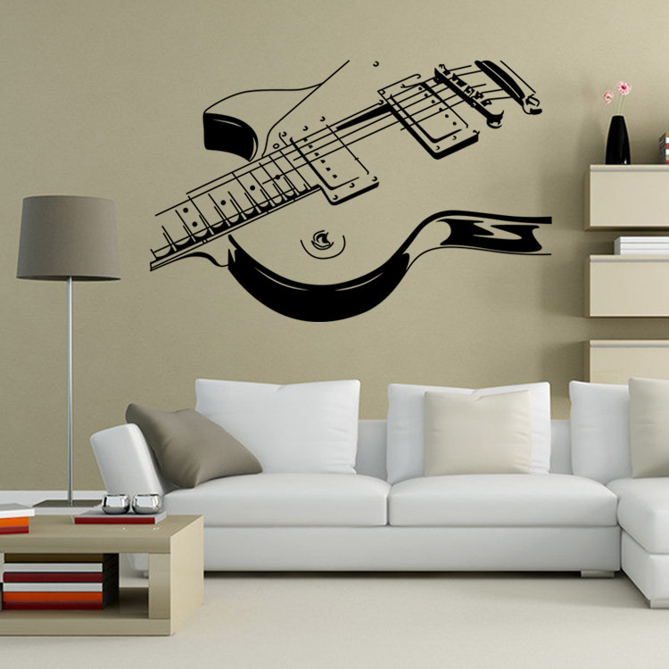 2017 New Design Fine Sketch Creative Personality Guitar Home Decoration Wall  Stickers Living Room Wall Decals Bedroom Wallpaper In Wall Stickers From  Home ...
