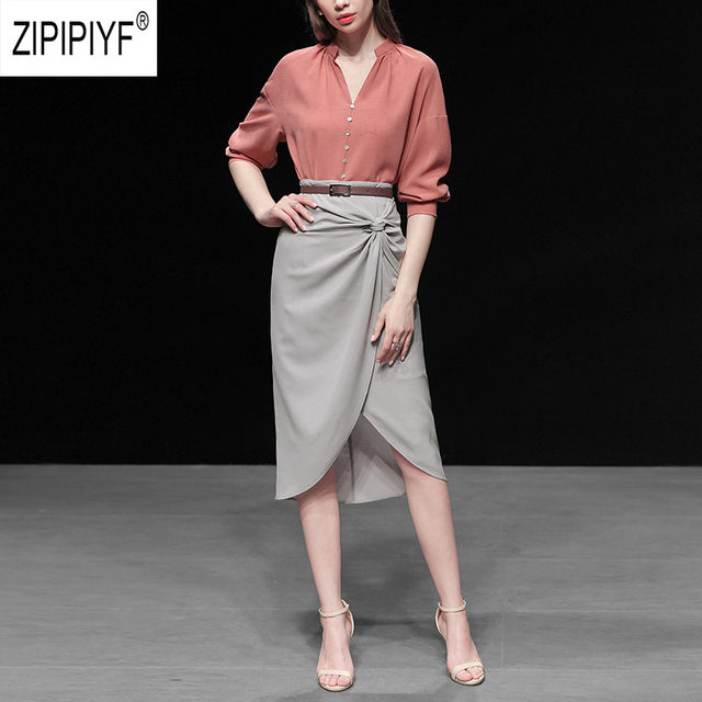 Unique Design Women Suits Solid Color V Neck Long Sleeve Single-breasted Loose Chiffon Blouse Irregular Hem Bow Chic Skirt Z1127