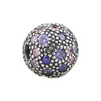 DIY Clasps Jewelry Findings Purple Pink Zircon Spacer Beads Pendant Fit European Charms 925 Sterling Silver Bracelets Chains