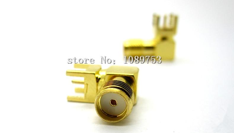 цена на 50PCS SMA female Thru Hole plug Right Angle 90 DEGREE SMA-KWE PCB Mount connector RF adapter