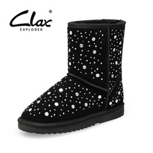 Clax 2016 High Quality Women Genuine Suede Leather Australia boot Classic Winter shoes for female Snow Boots lady with fur warm
