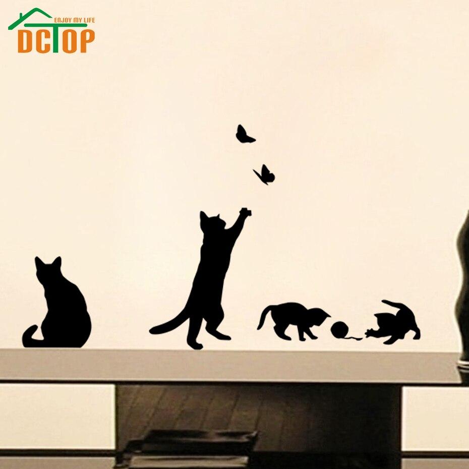 DCTOP Ball Spielen Katzen Wandaufkleber Schmetterlinge Klebstoff Aufkleber  Home Decor Vinyl Wandtattoos(China (Mainland
