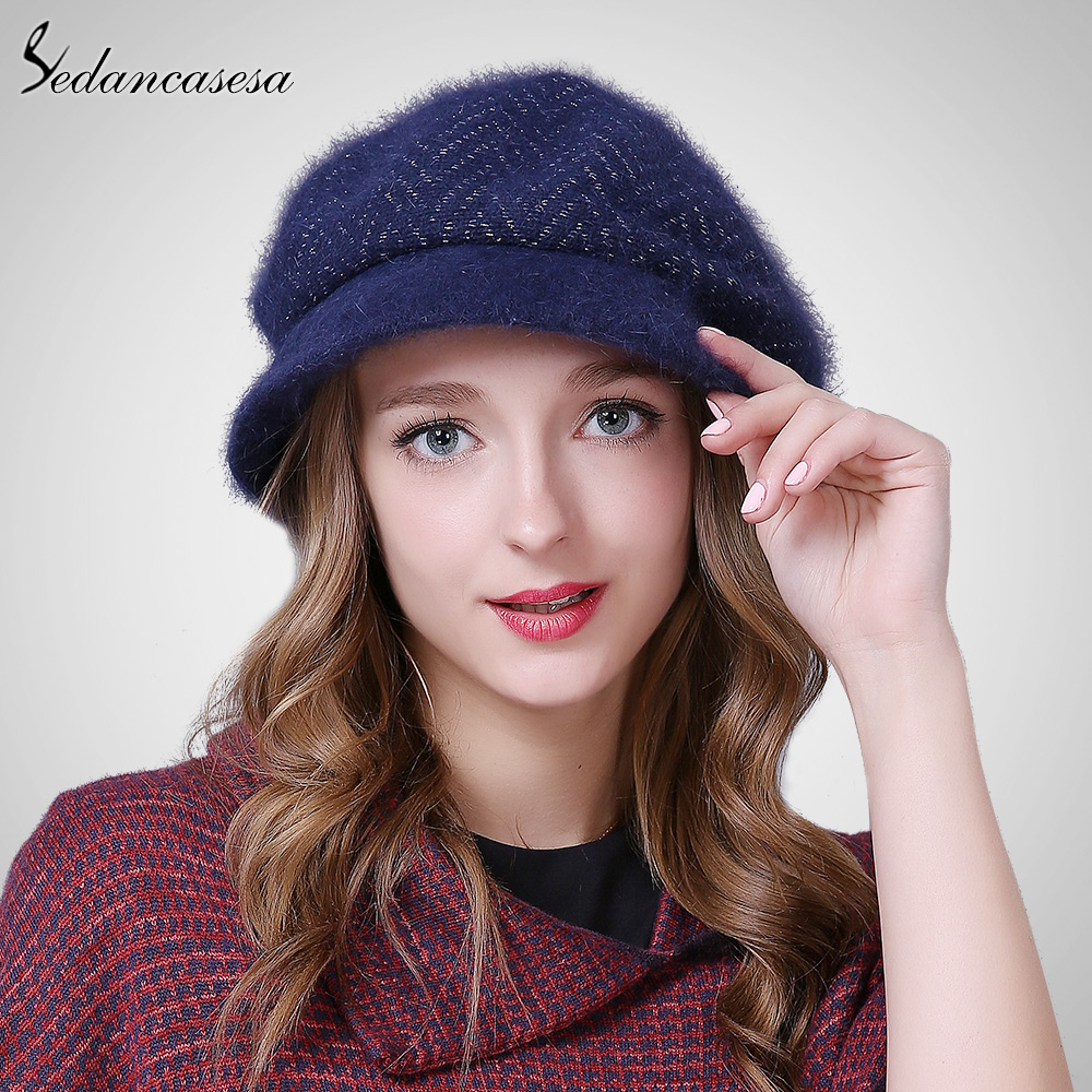 Sedancasesa Hat women 's Rabbit Fur Autumn Winter Korean Keep Warm Beanie Hat Knitted Berets for New Christmas Gifts AA015022 rabbit hair lady autumn winter new weaving small pineapple fur hat in winter to keep warm very nice and warm comfortable