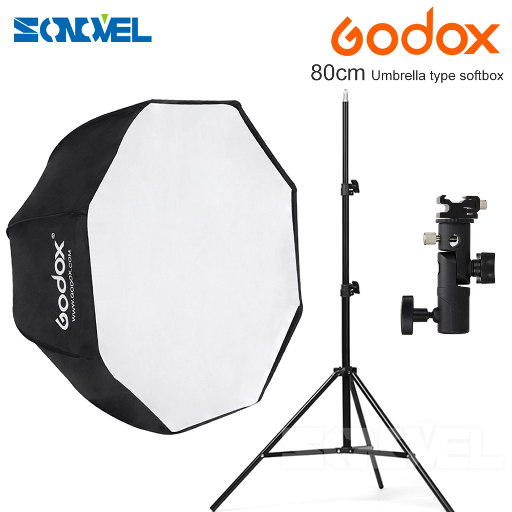 Godox 80 cm octagon parapluie softbox Lumière stand parapluie Hot shoe support kit pour Flash Speedlite