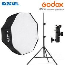 Godox 80cm sekizgen şemsiye softbox işık standı şemsiye sıcak ayakkabı braketi kiti flaş Speedlite
