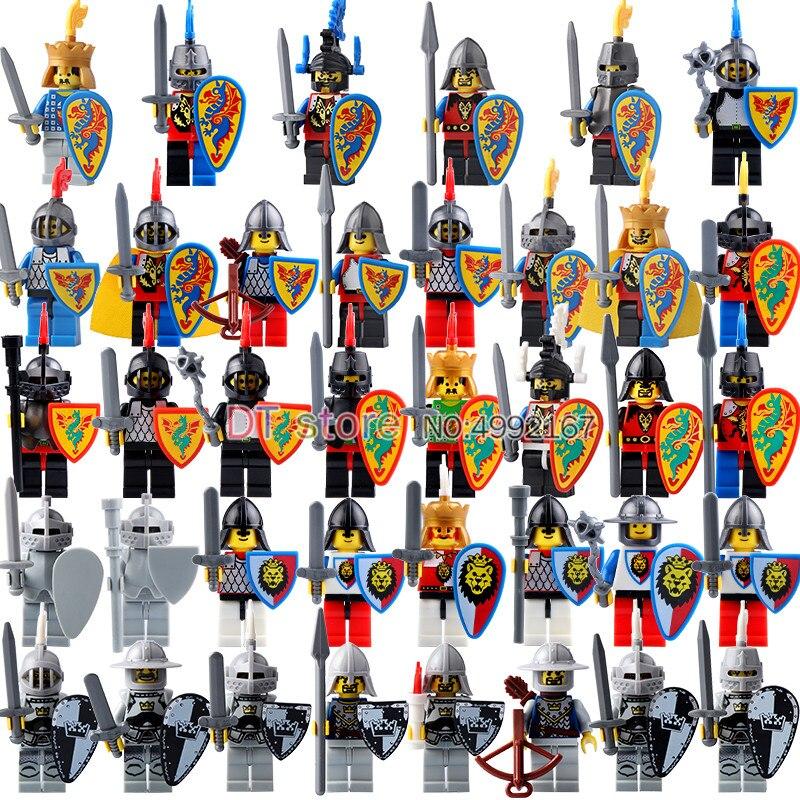 50pcs chevaliers médiévaux Dragon bleu lion rouge chevaliers blocs de construction briques jouets pour enfants ax9813