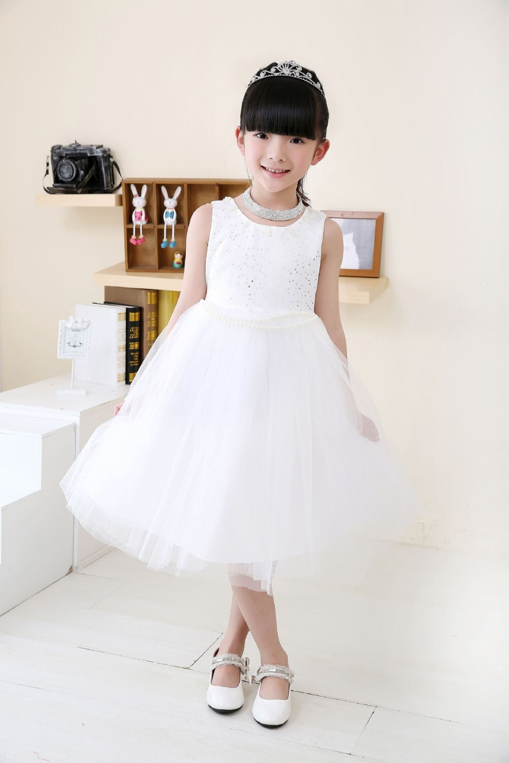 Hot Sale Girls Princess Dress Kids White Lace Wedding Vestidos Sequins Organza Red Color Party Dresses For 6 12 Year In From Mother