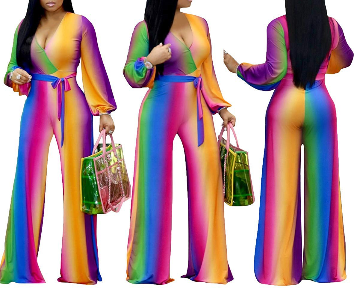 Women Long Sleeve Loose Wide Leg Trouser Jumpsuit Sashes Sexy V Neck Party Clubwear Rompers in Jumpsuits from Women 39 s Clothing