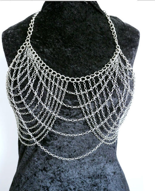 pin elegant metalwork unique chain chains necklace shape sterling leaf silver artisan marquise