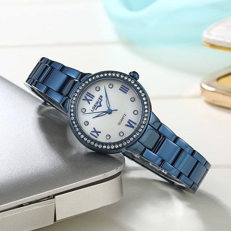 watches Lorinser reloj mujer  mother of pearl Quartz Ladies blue Fashion Wrist Watches Diamond Stainless Steel Women Wristwatchwatches Lorinser reloj mujer  mother of pearl Quartz Ladies blue Fashion Wrist Watches Diamond Stainless Steel Women Wristwatch