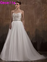 2017 Modern Sparkle Long A-line Beaded Crystals Tulle Wedding Dresses Elegant Ivory Wedding Gowns Vestidos De Novia Custom Made