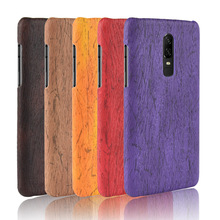 For Oneplus 6 Case 1+6 Hard PC+PU Leather Retro wood grain Phone One plus Cover Luxury Wood for Oneplus6
