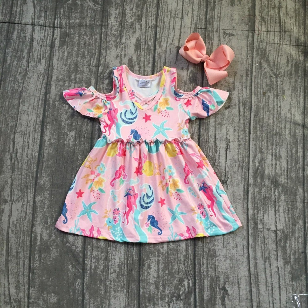 1 piece coral flower seaworld bare shoulder dress baby girls kids wear dress Summer outfit boutique clothing match bow milk silk new girls outfit be a flamingo floral coral mint kids boutique shorts sets ruffles cotton clothing match with accessories