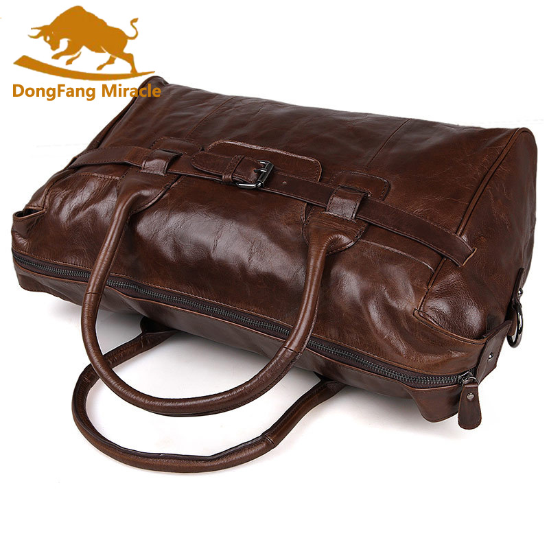DongFang Miracle Genuine Leather Travel bag Men Large carry on Luggage bag  Men leather duffle bag Overnight weekend bag big tote-in Travel Bags from  Luggage ... 18e6f7a20a38a