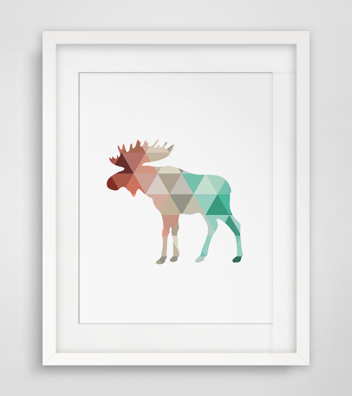 Coral & Mint Moose Print Moose Antlers Wall Art Coral and Mint Colors Moose Print Animal Geometric Art No Framed AP039