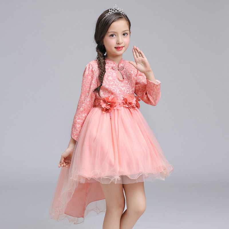 Chinese Style Traditional Cheongsam Costume Dress Girls Long Sleeve Princess Party Autumn Winter Performance Trailing Dress Pink girl clothing dress 2018 chinese style autumn and winter high collar long sleeve printing thick warm cheongsam children s dress
