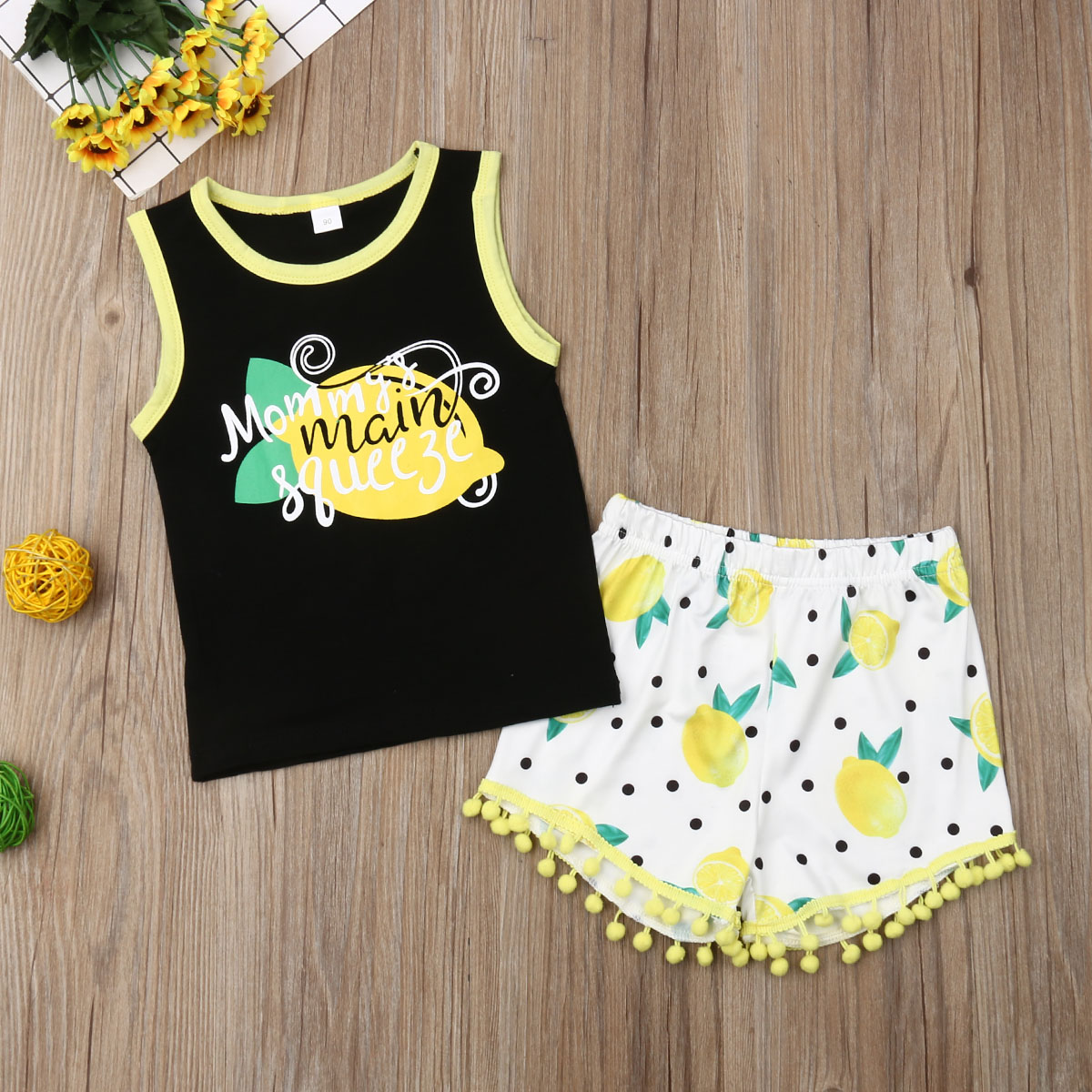 Pudcoco Summer Toddler Baby Girl Clothes Fruits Print Cotton Sleeveless Tops Vest Tassel Shorts 2Pcs Outfits Clothes Summer