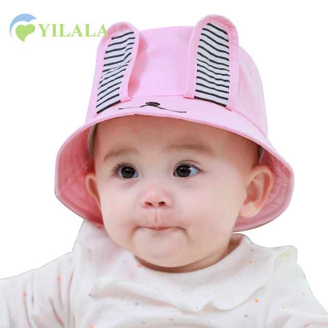 38a1495b5d1 Rabbit Baby Hat Cotton Solid Girls Sun Hat Cartoon Summer Bucket Hat With Rabbit  Ears Cute