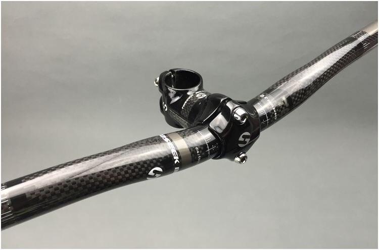 TOSEEK 3K Glossy Full <font><b>Carbon</b></font> <font><b>Fiber</b></font> <font><b>Bicycle</b></font> 25.4mm Rise <font><b>Handlebar</b></font> + bike Stem For MTB Bike Parts Sets