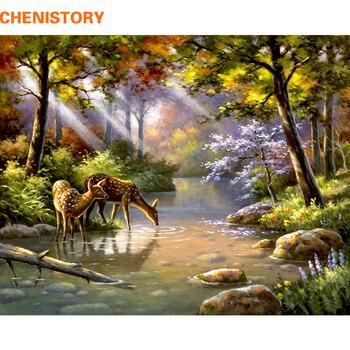 CHENISTORY photo forêt peinture à la main par numéros peinture acrylique par numéros Unique cadeau toile peinture pour décor à la maison mur Arts