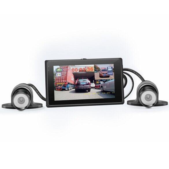 Обновления Двойной объектив Автомобильный видеорегистратор для мотоцикла 3.0 TFT ЖК-дисплей экран + Dual реальные 1080 P FHD камеры Мотоцикл ATV с gps т...