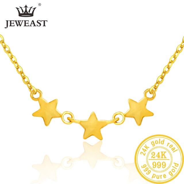 SFE 24K טהור זהב שרשרת אמיתי AU 999 מוצק זהב שרשרת יפה עלה אופנתיים יוקרתיים קלאסי תכשיטים חמה למכור חדש 2020