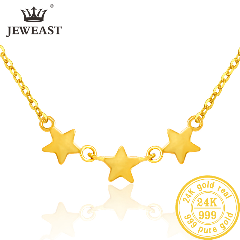 SFE 24K Pure Gold Necklace Real AU 999 Solid Gold Chain Beautiful Leaf Upscale Trendy Classic  Fine Jewelry Hot Sell New 2019-in Necklaces from Jewelry & Accessories