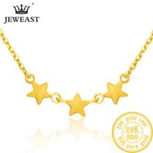 SFE collar de oro puro de 24K para mujer, cadena de oro sólido auténtico AU 999, hoja hermosa, joyería clásica bonito de lujo, producto en oferta, novedad de 2020