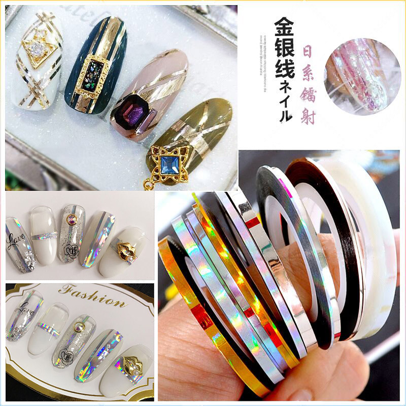 LSX-01- KL NEW 3Rolls Holographic Nail Line Decal Set Striping Tapes 1mm 2mm 3mm Adhesive Laser Manicure Nail Decoration Sticker 3pcs mermaid nail striping tape line holographic 1mm 2mm 3mm laser adhesive line decal diy styling transfer sticker uv gel