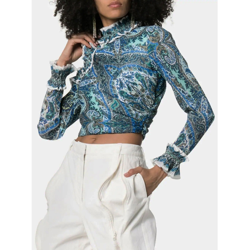 2019 new women s sexy shirt women s stand collar Slim shirt summer fashion RUFFLE NECK