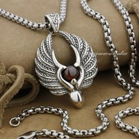 925 Sterling Silver Angel Wing Red CZ Stone Fashion Pendant 9L008(Necklace 24inch)