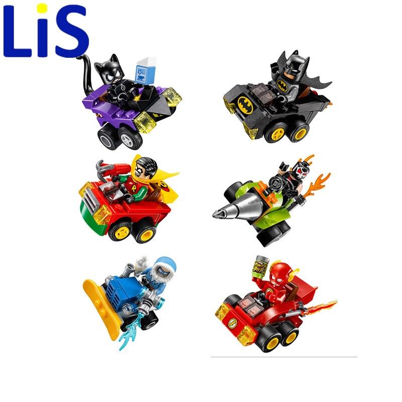 Lis 6Pcs DC comic super heroes Bumper car building block Batman catwomen Bane Robin Flash Mini Doll kids toys 76061-76063