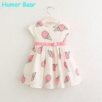 Humor Bear Рождество Супер Цветок девочки платья для партии Мороженое печати Принцесса Дети Платье Мода детская Одежда
