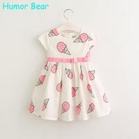 Humor Bear Girls Dress 2017 New Summer Style Baby Girls Dress Sleeveless Ice Cream Printing Princess