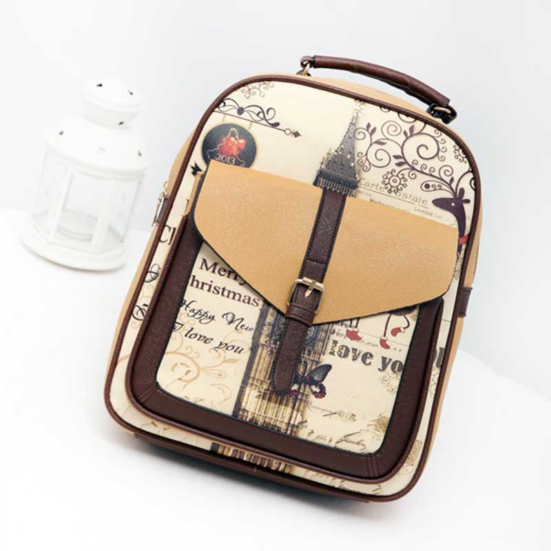 Tower New Design Canvas Women Backpack College Student School Bags For Girls Leisure Backpack   LT88 free shipping 2015 new famous designer brand fashion leisure cavans school college wind backpack eiffel tower pattern
