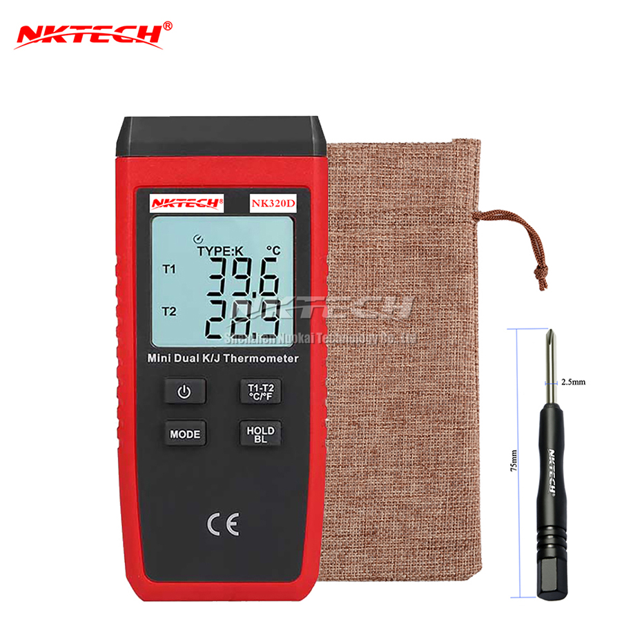 NKTECH NK320D Digital Thermometer Thermocouple Dual Channel T1/T2 Temperature (K) -50 ~ 1300 (J) -50 ~ 1200 Max/Min/Avg Tester az8803 digital thermocouple thermometer with temperature range 50 1300 degree