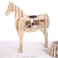 L Размер деревянное украшение для дома лошадь книжная полка