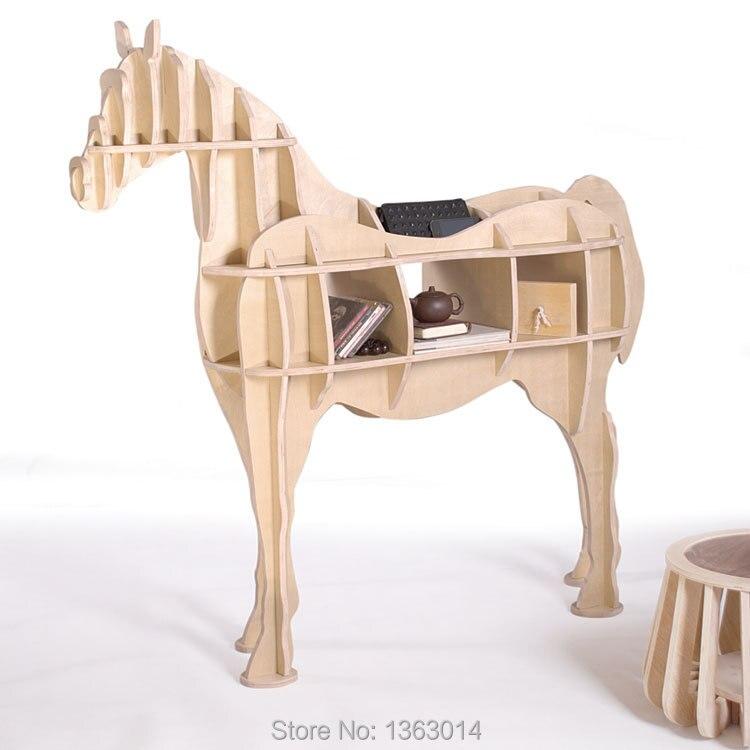 L taille en bois meubles de maison Cheval étagère