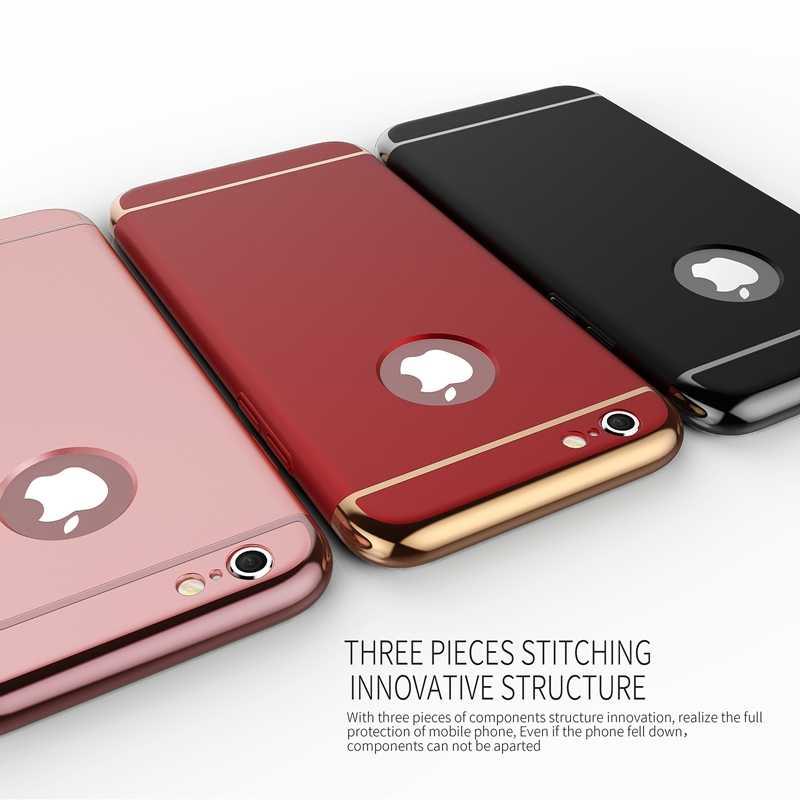 ¡Diseño de arco antigolpes! Lujosa carcasa rígida 3 en 1 para Iphone 6, 6S, 4,7 pulgadas, Ultra delgada, mate, cubierta trasera + Logo circular