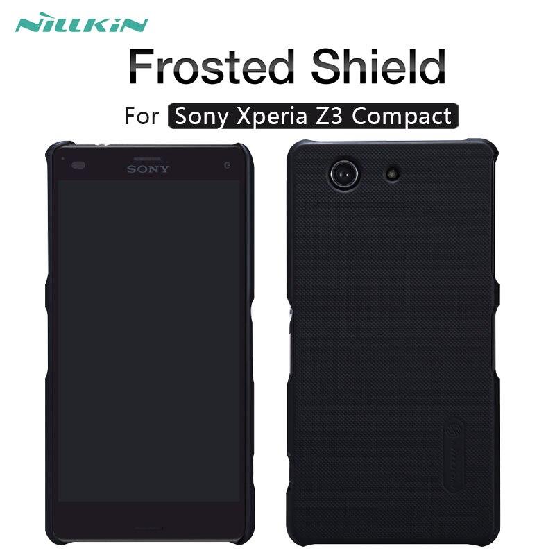Pour Sony Z3 mini NILLKIN Givré Bouclier mat dur de couverture arrière cas Pour Sony Xperia Z3 Compact cas de téléphone Cadeau Protecteur D'écran